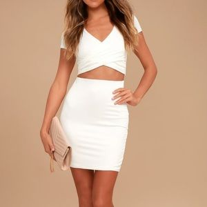 By Your Side Two Piece Crop Short Sleeve Ivory
